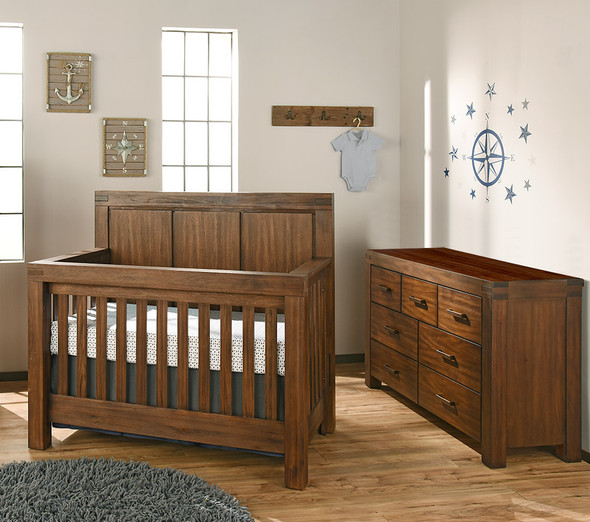 Oxford Baby Piermont Collection 7 Drawer Dresser in Rustic Farmhouse Brown