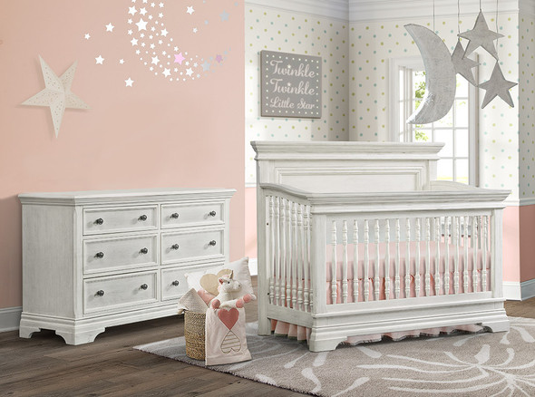 Westwood Olivia 2 Piece Nursery Set - Crib and 6 Drawer Dresser in Brushed White