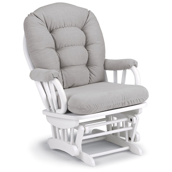 Best Chairs Geneva White Wood Glider - Dove