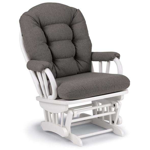 Best Chairs Geneva White Wood Glider - Granite