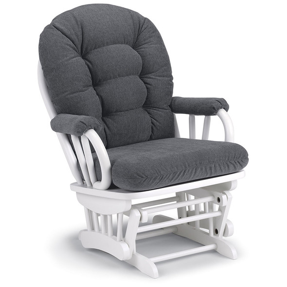 Best Chairs Geneva White Wood Glider - Graphite