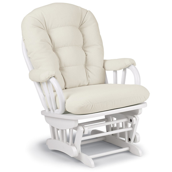 Best Chairs Geneva White Wood Glider - Snow
