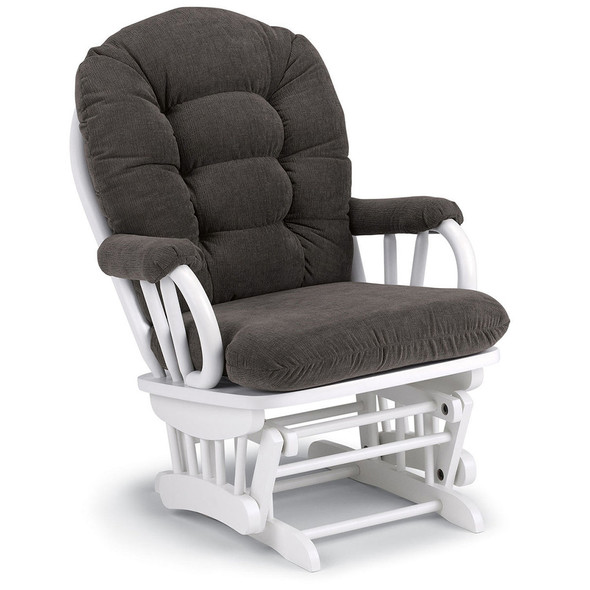 Best Chairs Geneva White Wood Glider - Mocha