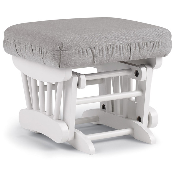 Best Chairs Geneva White Wood Ottoman - Dove