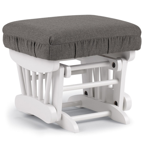 Best Chairs Geneva White Wood Ottoman - Granite
