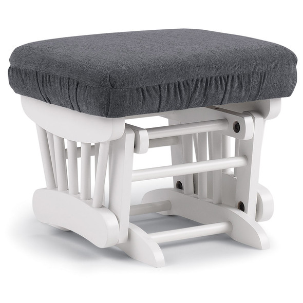 Best Chairs Geneva White Wood Ottoman - Graphite