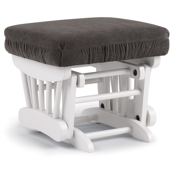 Best Chairs Geneva White Wood Ottoman - Mocha
