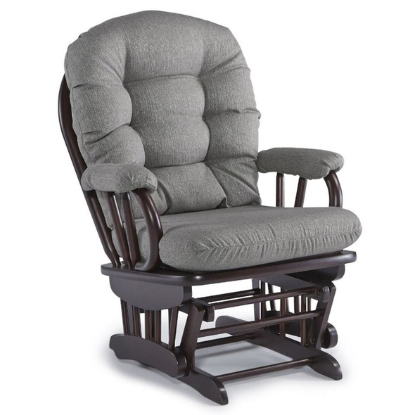 Best Chairs Geneva Espresso Wood Glider - Granite