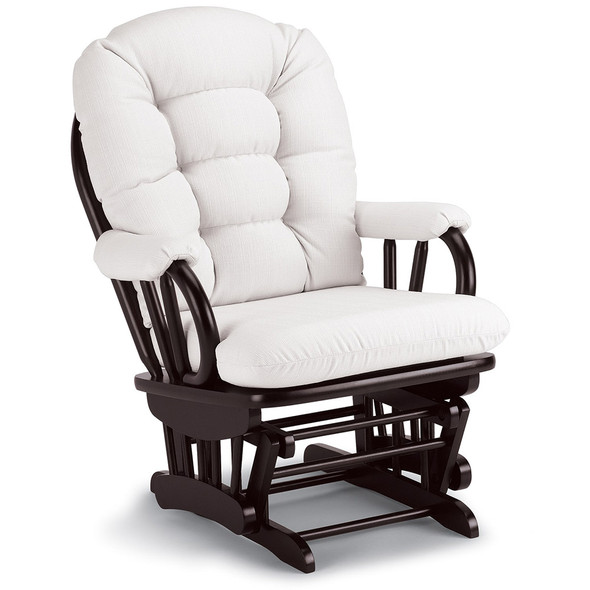 Best Chairs Geneva Espresso Wood Glider - Snow