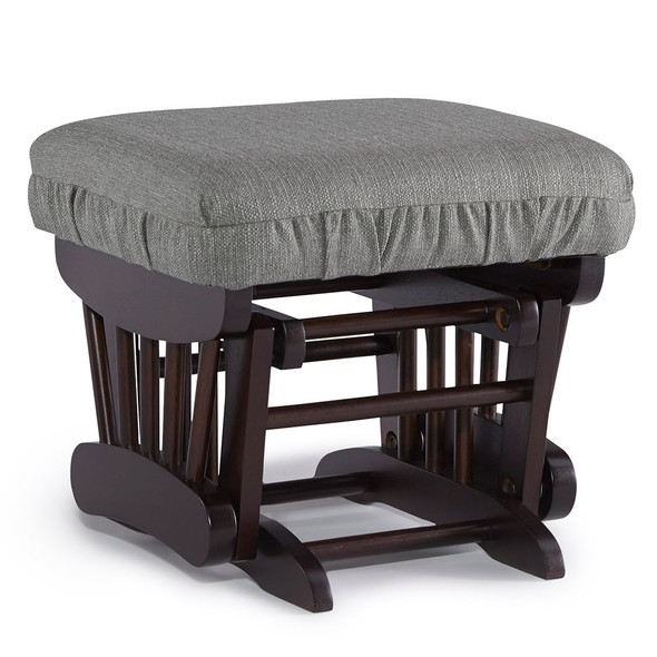 Best Chairs Geneva Espresso Wood Ottoman - Granite