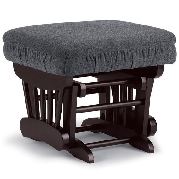 Best Chairs Geneva Espresso Wood Ottoman - Graphite