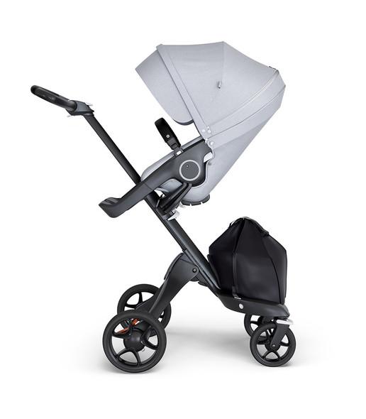 Stokke Xplory Black Chassis & Stroller Seat in Grey Melange and Black Handle