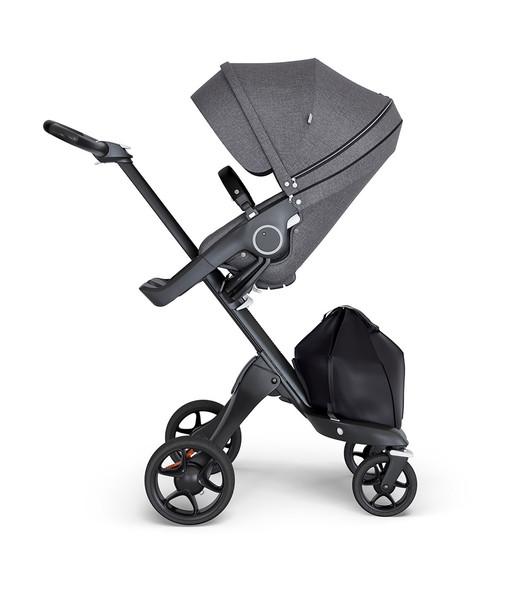 Stokke Xplory Black Chassis & Stroller Seat in Black Melange and Black Handle