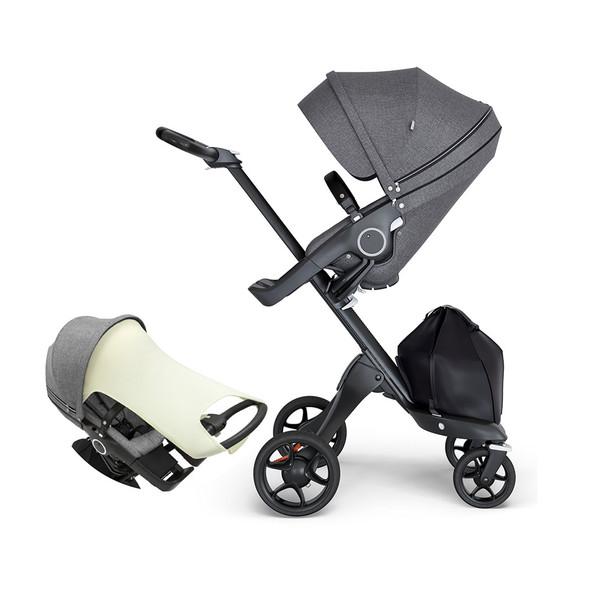 Stokke Xplory Black Chassis & Stroller Seat in Grey Melange and Brown Handle