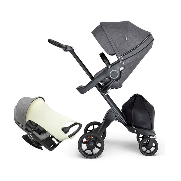 Stokke Xplory Black Chassis & Stroller Seat in Brushed Grey and Brown Handle