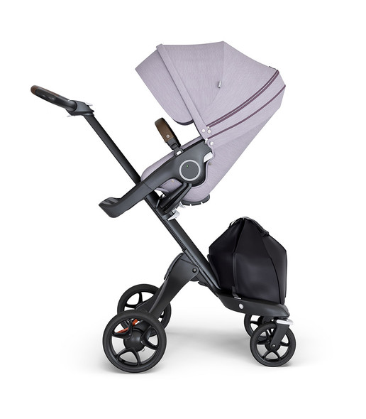 Stokke Xplory Black Chassis & Stroller Seat in Brushed Lilac and Brown Handle