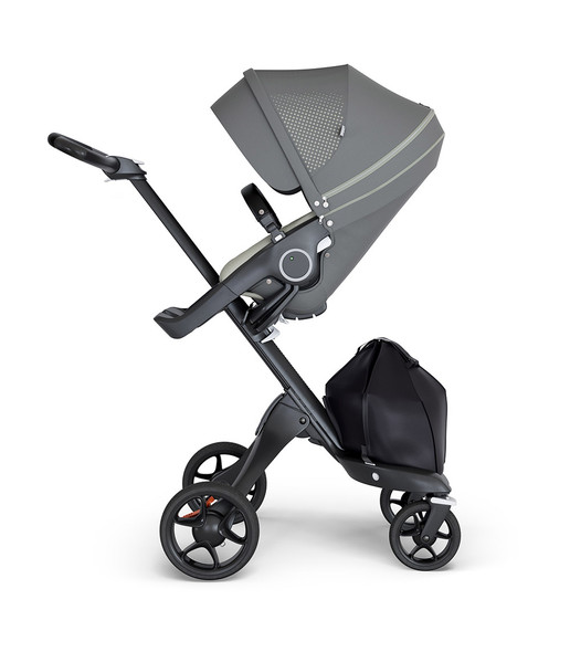 Stokke Xplory Black Chassis & Stroller Seat in Athleisure Green and Black Handle