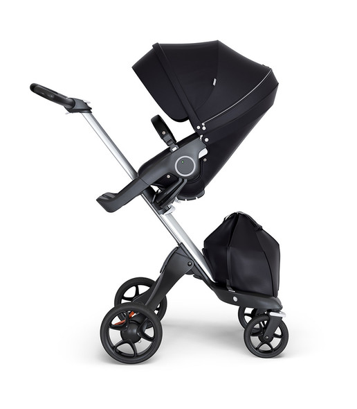 Stokke Xplory 2018 Silver Chassis & Stroller Seat in Black and Black Handle