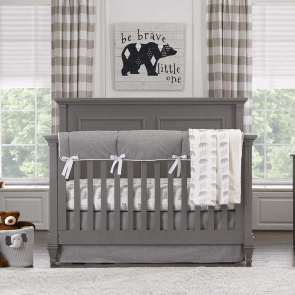 Liz and Roo Cubby (Gray) Bumperless Crib Bedding 4-Piece Set