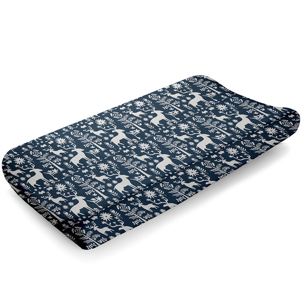 Liz and Roo Woodland Forest (Navy) Contoured Changing Pad Cover