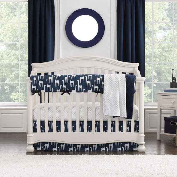 Liz and Roo Navy Giraffe Bumperless Crib Bedding 3 pc set