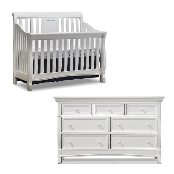 Sorelle Montgomery 2 Piece Set - Double Dresser and Convertible Crib in White