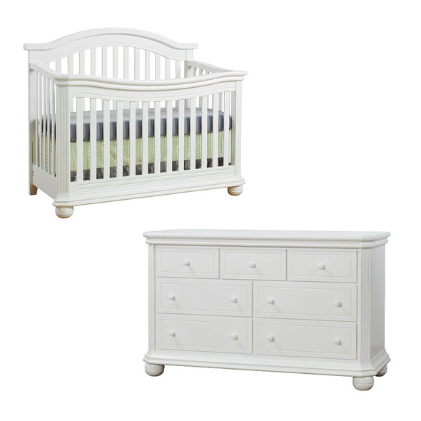 Sorelle Vista Elite Collection 2 Piece Set - Double Dresser and Convertible Crib in White