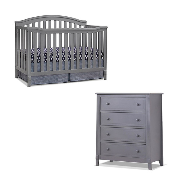 Sorelle Berkley 2 Piece Nursery Set - 4 Drawer and 4 in 1 Crib in Gray