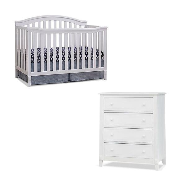 Sorelle Berkley 2 Piece Nursery Set - 4 Drawer and 4 in 1 Crib in White