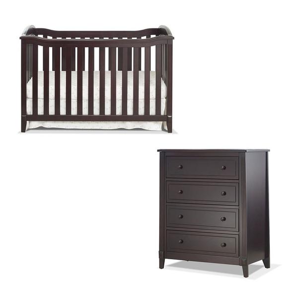 Sorelle Berkley 2 Piece Nursery Set - 4 Drawer and Classic Crib in Espresso