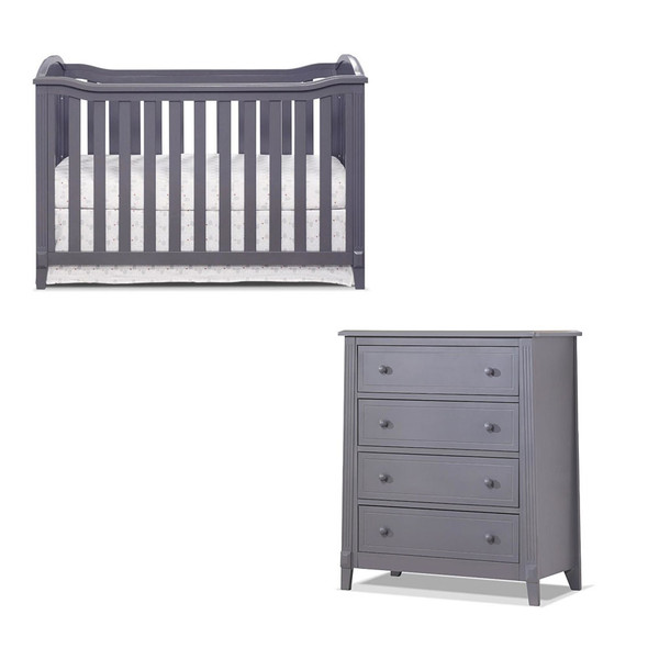 Sorelle Berkley 2 Piece Nursery Set - 4 Drawer and Classic Crib in Gray