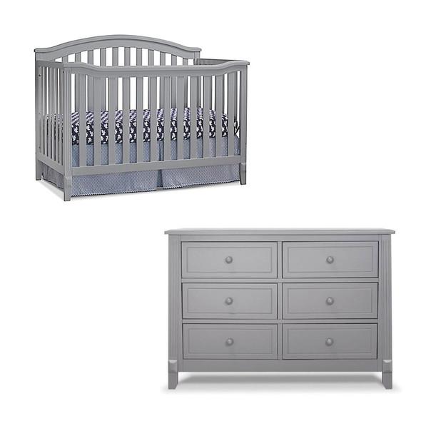 Sorelle Berkley 2 Piece Nursery Set - Double Dresser and 4 in 1 Crib in Gray