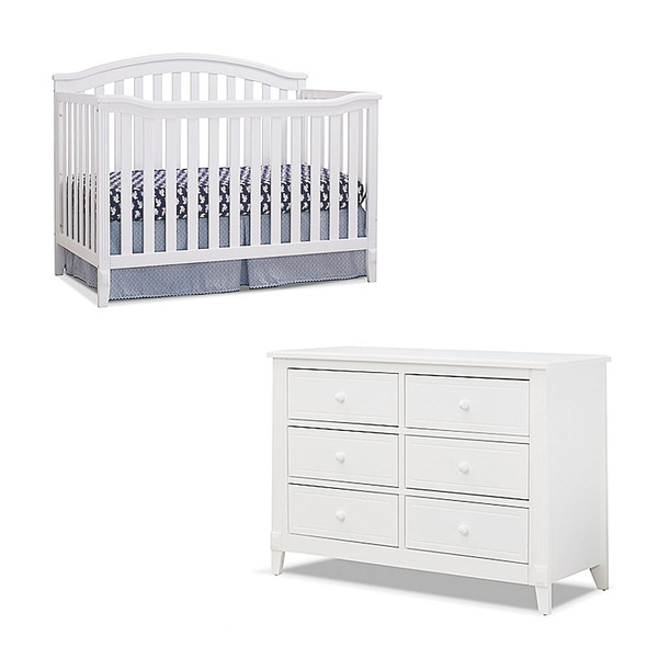 Sorelle Berkley 2 Piece Nursery Set - Double Dresser and 4 in 1 Crib in White