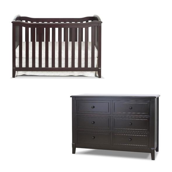 Sorelle Berkley 2 Piece Nursery Set - Double Dresser and Classic Crib in Espresso