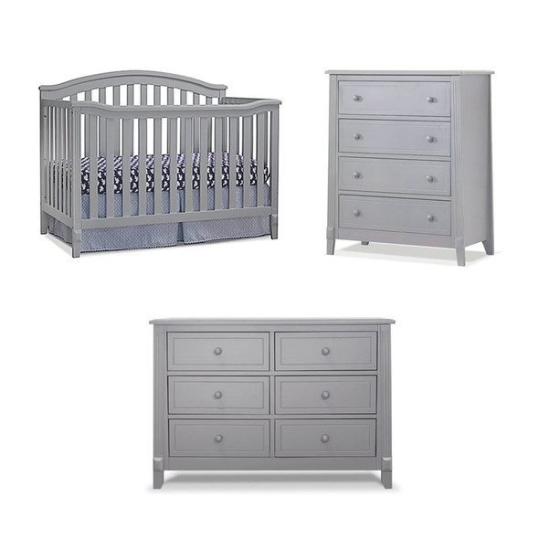 Sorelle Berkley 3 Piece Nursery Set in Gray (4 in 1 Crib)