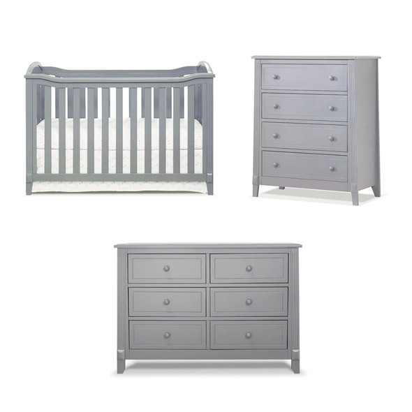 Sorelle Berkley 3 Piece Nursery Set in Gray (Classic Crib)