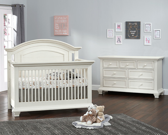 Oxford Baby Cottage Cove Collection 2 Piece Nursery Set - Convertible Crib & 7 Drawer in Vintage White