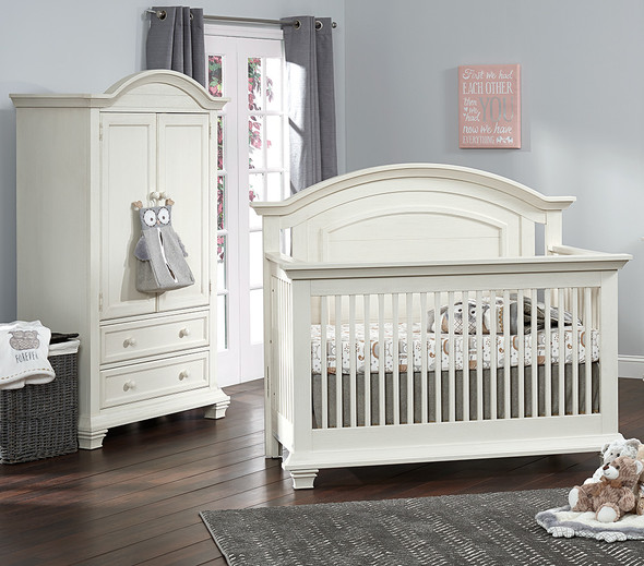 Oxford Baby Cottage Cove Collection 2 Piece Nursery Set - Convertible Crib & Armoire in Vintage White