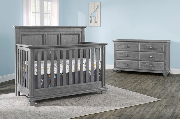 Oxford Baby Kenilworth Collection 2 Piece Set - 4 in 1 Convertible Crib & 6 Drawer Dresser in Graphite Gray