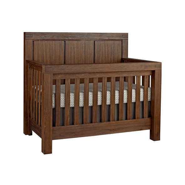 Oxford Baby Piermont Collection 2 Piece Nursery Set - Convertible Crib & 7 Drawer Dresser in Rustic Farmhouse Brown