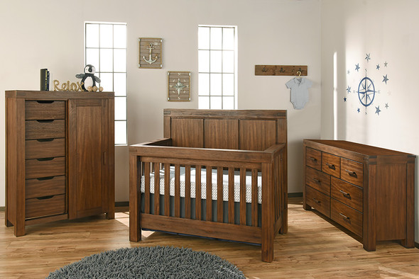 Oxford Baby Piermont Collection 3 Piece Nursery Set in Rustic Farmhouse Brown