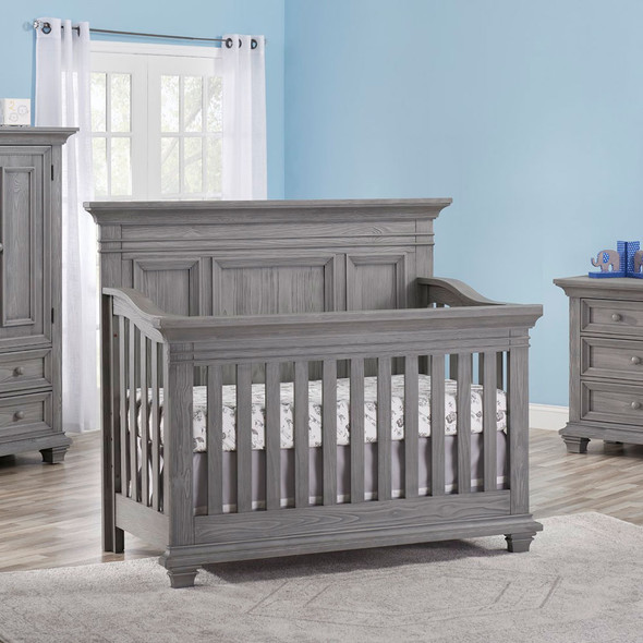 Oxford Baby Westport Collection 2 Piece Nursery Set - Convertible Crib & 7 Drawer Dresser in Dusk Gray