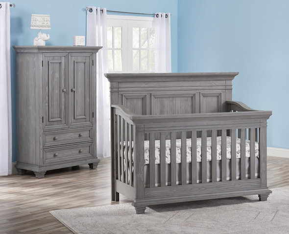 Oxford Baby Westport Collection 2 Piece Nursery Set - Convertible Crib & Armoire in Dusk Gray