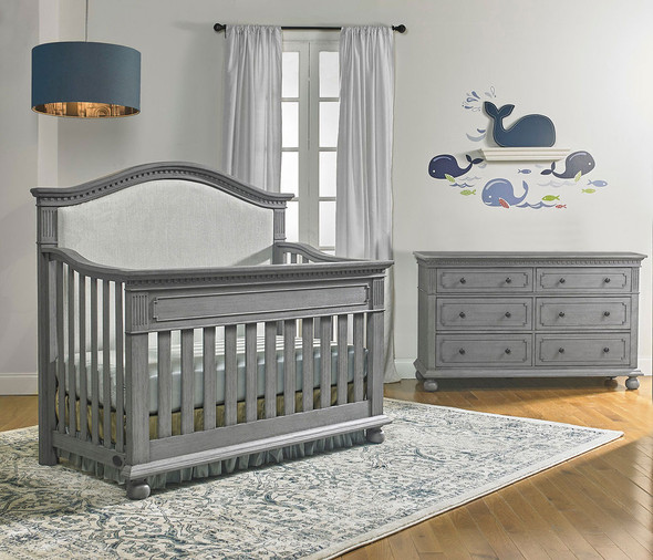 Dolce Babi Naples 2 Piece Nursery Set - Upholstered Crib, Double Dresser in Nantucket Grey