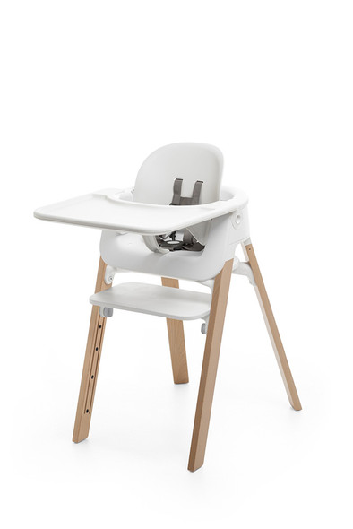 Stokke Steps High Chair in White accessories with Natural Legs
