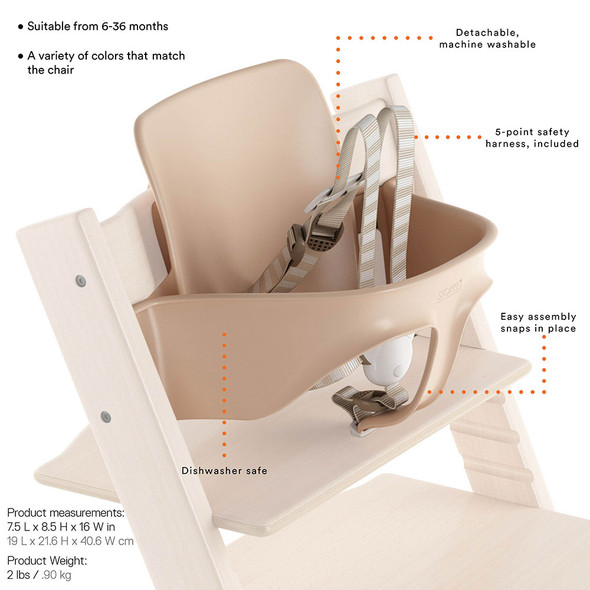 Stokke TRIPP TRAPP Baby Set with Harness and Extended Glider in White