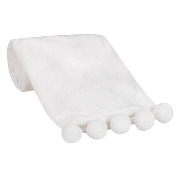 Lambs & Ivy White Pompom Blankets
