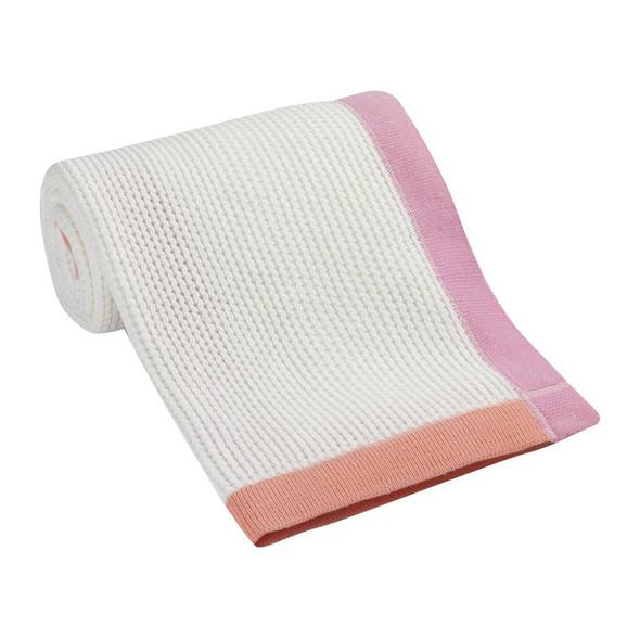 Lambs & Ivy Designer Blankets Border Knit Blanket - Pink/Orange