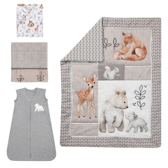 Lambs & Ivy Painted Forest 4-Piece Bedding Set