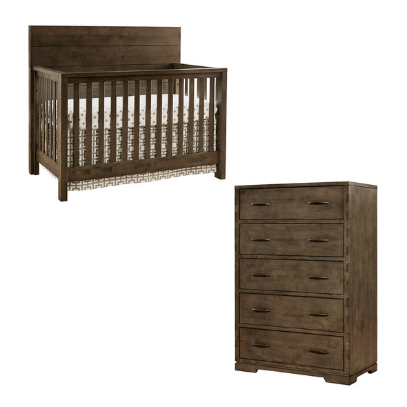 Westwood Dovetail 2 Piece Nursery Set - Chest and Convertible Crib in Graphite